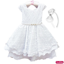 Vestido Infantil Branco Luxo Daminha Luxo Primeira Comunhao