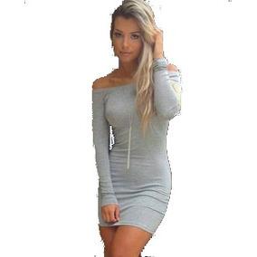 Vestido Cinza Feminino Ombro Manga Longa Listrado Preto