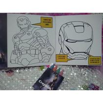 12 Invitaciones Iron Man Para Colorear Incluye 4 Crayolas