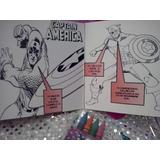 12 Invi Capitan America Para Colorear Incluye 4 Crayolas