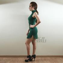 Vestido Casual Liso Verde Militar Básico Balada Curto