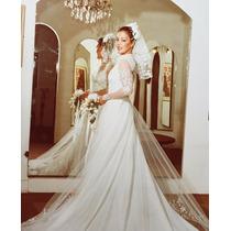Vestido De Noiva Feito Por Estilista Com Véu E Cauda+brinde