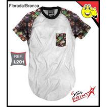 Camiseta Longline Oversized Floral Estilo Kings Swag Brinde
