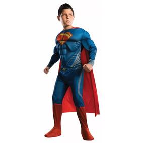 Fantasia Do Super Man - Super Homem Com Musculos E Capa Luxo