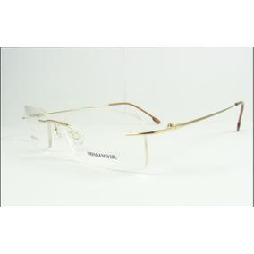 Armação Oculos Titanio Dobradiça Dourada Leve Sem Aro A602