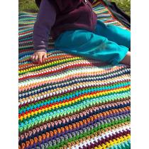 Manta Cubrecama Tejida Al Crochet Artesanal