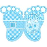 Convite Chá De Bebê Menino Pezinho Azul C/10 Un