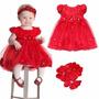 Vestido Infantil Festa Para 2 Anos Cetim Vermelho Importado