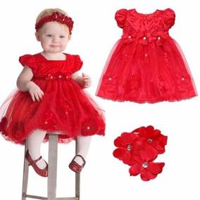 Vestido Natal Festa 1 Ano Cetim Vermelho Com Tiara Importado