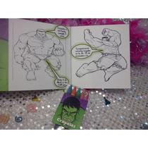 12 Invitaciones Hulk Para Colorear Incluye 4 Crayolas