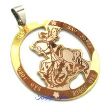 Medalhão São Jorge 3,8cm Aço Cirúrgico Inox Prateado Dourado