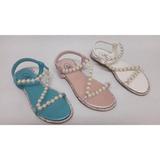 Sandalias Planas Con Perlas Y Cristales Importadas Df6030