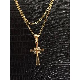 Promoção Colar Duplo Folheado Ouro 18k Crucifixo Pedra 45cm