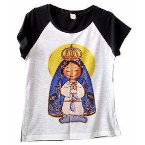 Blusa Feminina Camiseta Raglan Aparecida Santa Preta Branca