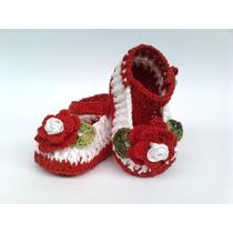 A217 Sapatinho De Croche Feminino Branco E Vermelho Menina