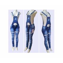 Macacão Calça Jeans Feminino Jardineira Comprido
