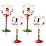 Regalos De Navidad Juego De 4 Copas De Vino Pintado A Mano
