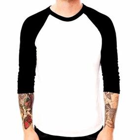 Camiseta Raglan 3/4 Lisa 100 % Algodão Melhor Acabamento !