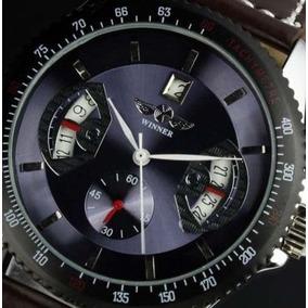 Relógio Winner Automático Calendário Pulseira Couro