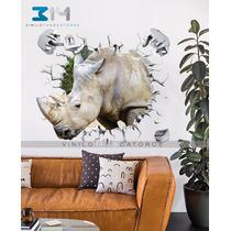 Vinilo Decorativo Animales 3d Rinoceronte Safari Sticker