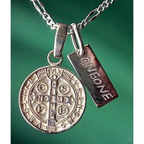 Cadena Placa Y Dije De Cruz Medalla San Benito En Plata.925