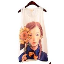 Moda Japonesa Blusa Camiseta Estampado De Niña 04