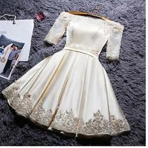 Vestido De Noiva Curto Champanhe