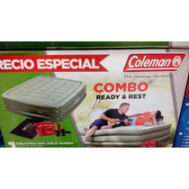 Colchon Inflable Queen Doble Altura Coleman + Bomba Electric