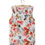 Camiseta Regata De Seda Estampa Floral Fundo Creme