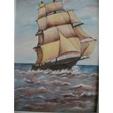 Pintura Óleo S/ Tela Navio Barco Caravela 41x27 Odette Ejp