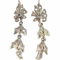 Par Aretes Plata Y Oro Con Diamante Corte Rosa