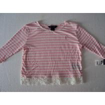 Blusa Infantil Ralph Lauren Original Com Renda - 6 Anos