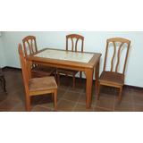 Mesa De Madeira Maciça Com Tampo De Mármore E 4 Cadeiras