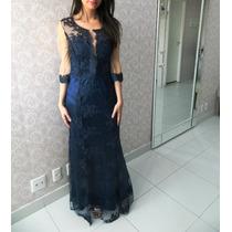 Vestido De Festa Rendado Azul Marinho/casamento/mãe De Noiva