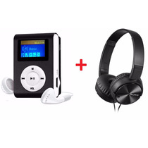 Mini Mp3 Player Shuffle + Fone Sony Mdr- Zx310+ Cabo Usb