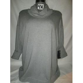 Sweater Gris Cuellos Alto Talla 4x Extragrande Para Gorditas