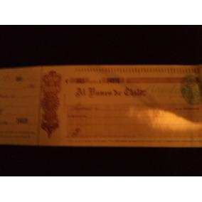 Antiguo Cheque Del Banco De Chile De 1910
