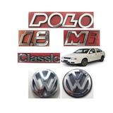 Kit Emblema Polo Classic 1.8 Mi Vw Grade E Mala - 6 Peças