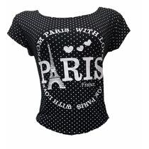 Camiseta Baby Look Feminina De Malha Estampada Linda