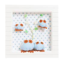 Nicho Porta Maternidade 1 Led C/ Nome Bebê - Corujas Azuis