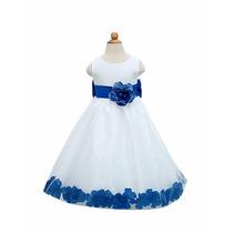 Hermoso Vestido Presentación Ceremonia Niña Blanco/azul