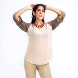Blusa Chiffon Unicolor Mangas 3/4 Rose Fashion
