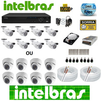 Kit 8 Cameras Intelbras Dvr Gravador 8 Canais Tudo Intelbras