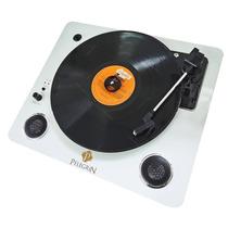 Toca-discos De Mesa Retrô Branco Em Metal - 42x36 Cm