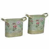 Vasos Decorativo De Metal Flor Corrieri Oval 2 Peças