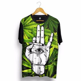 Camisa Marijuana Psychedelic Erva 4:20 Cannabis Sativa Preta