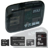 Leitor Gravador Usb Cartão Memória M2 Sdhc Pro Duo Micro Sd