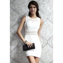 Sexy Vestido Blanco Transparencias Frente Cintura Y Espalda