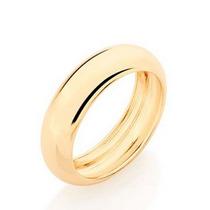 Aliança Rommanel De Casamento Folheado Ouro 18k 510919 6mm