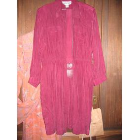 Vestido De Seda 100% Elegante Sport Color Coral Unico